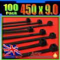 9mm x 450mm Black Nylon Cable Ties, (Zip Tie Wraps)